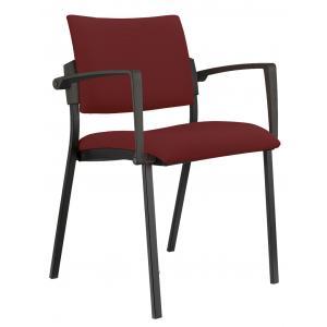 Konferenčná stolička Kubic s podrúčkami bordó