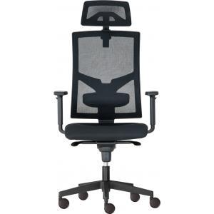 Kancelárska stolička GAME Šéf SYN čierna  (Bombay 02) + PDH + podrúčky P44
