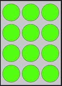 Etikety farebné priemer 60mm APLI A4 20 hárkov fluo zelené