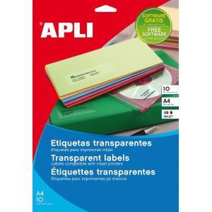 Etikety polyesterové priehľadné 210x297mm APLI A4 inkjet 10 hárkov