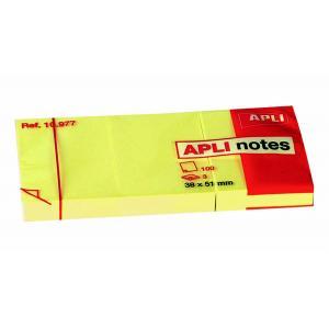 NP:QC010500 Bloček samolepiaci žltý 38x51mm 3x100 lístkov APLI notes