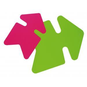 Popisovateľný farebný kartón šípka 24x32, mix ružová-zelená