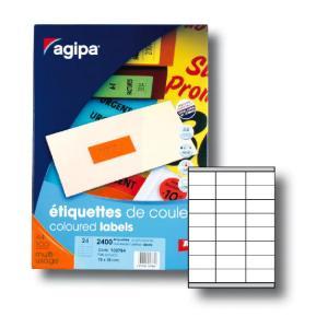 Etikety farebné 70x35mm Agipa A4 100 hárkov fluo oranžové