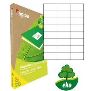 Etikety univerzálne recyklované 70x37mm Agipa A4 100 hárkov