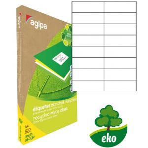 Etikety univerzálne recyklované 105x37mm Agipa A4 100 hárkov
