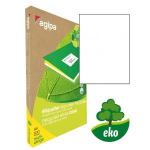 Etikety univerzálne recyklované 210x297mm Agipa A4 100 hárkov