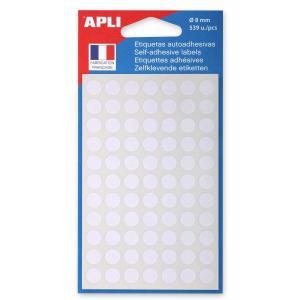 Etikety kruhové 8mm APLI biele