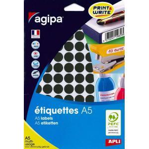 Etikety kruhové 15mm Agipa A5 čierne