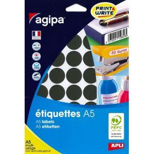 Etikety kruhové 24mm Agipa A5 čierne