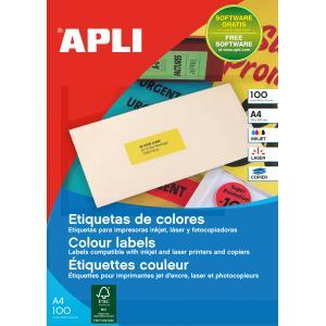 Etikety farebné 70x31mm Agipa A4 100 hárkov fluo červené