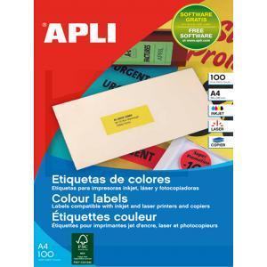 Etikety farebné 210x297mm APLI A4 100 hárkov fluo červené