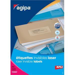 Etikety polyesterové priehľadné 210x297mm Agipa A4 laser 100 hárkov