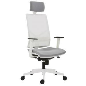 Kancelárska stolička Omnia White, svetlo sivá