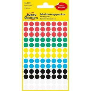 Etikety kruhové 8mm Avery mix farieb