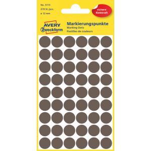 Etikety kruhové 12mm Avery hnedé