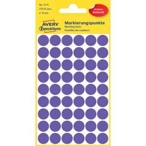 Etikety kruhové 12mm Avery fialové