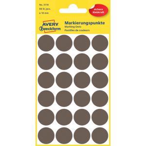 Etikety kruhové 18mm Avery hnedé