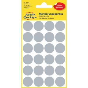 Etikety kruhové 18mm Avery sivé