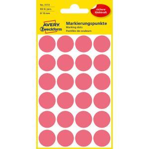 Etikety kruhové 18mm Avery neónovo červené
