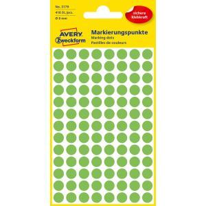 Etikety kruhové 8mm Avery neónovo zelené
