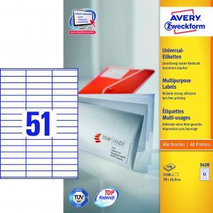 Etikety univerzálne 70 x 16,9 mm Avery A4, 100 listov