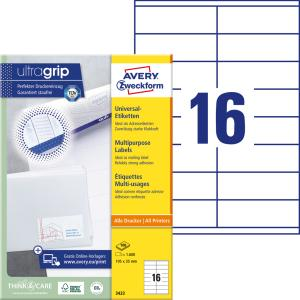 Etikety univerzálne 105 x 35 mm Avery A4, 100 listov