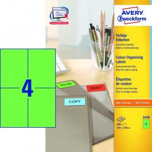 Etikety farebné 105x148mm Avery A4 100 hárkov zelené