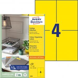 Etikety farebné 105x148mm Avery A4 100 hárkov žlté