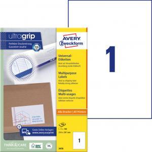 Etikety univerzálne 210 x 297 mm Avery A4, 100 listov