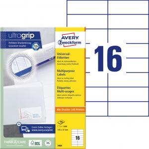 Etikety univerzálne 105 x 37 mm Avery A4, 100 listov