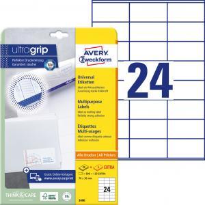 Etikety univerzálne 70x36mm Avery A4 25+5 hárkov
