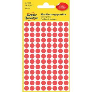 Etikety kruhové 8mm Avery odnímateľné červené