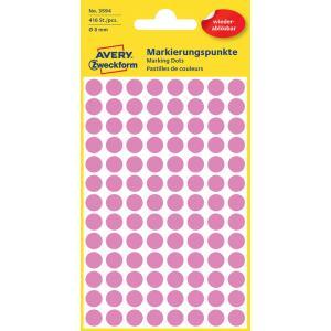 Etikety kruhové 8mm Avery odnímateľné ružové