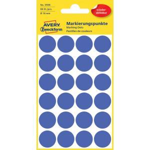 Etikety kruhové 18mm Avery odnímateľné modré