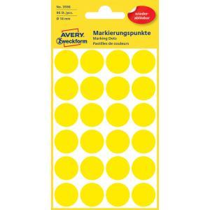 Etikety kruhové 18mm Avery odnímateľné žlté