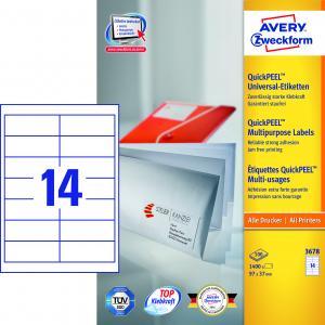 Etikety univerzálne 97 x 37 mm Avery A4, 100 listov