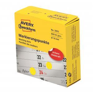 Etikety kruhové 10mm Avery žlté v dispenzore