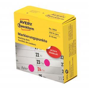 Etikety kruhové 19mm Avery purpurové v dispenzore