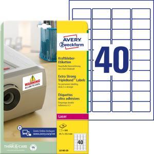 Etikety s trojnásobnou lepivosťou Avery 45,7x25,4mm, biele