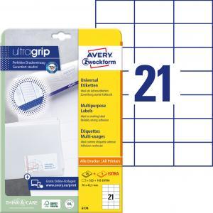 Etikety univerzálne 70x42,3mm Avery A4 25+5 hárkov