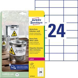 Etikety polyesterové 70x37mm Avery A4 biele 20 hárkov