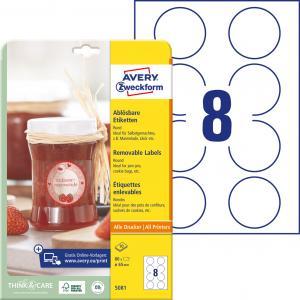 Etikety kruhové 65mm Avery 10 hárkov biele