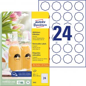 Etikety osemhranné 40,8x40,3mm Avery 10 hárkov biele
