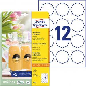 Etikety osemhranné 61x60,3mm Avery 10 hárkov biele