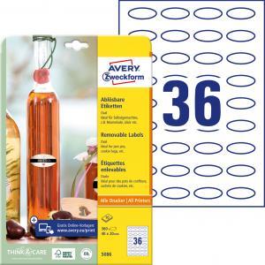 Etikety oválne 40x20mm Avery 10 hárkov biele