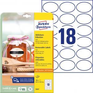 Etikety oválne 63,5x42,3mm Avery 10 hárkov biele