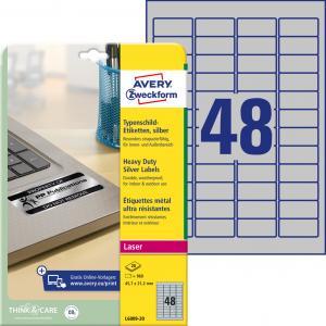 Etikety polyesterové 45,7x21,2mm Avery A4 strieborné 20 hárkov