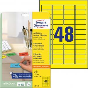 Etikety Avery odnímateľné 45,7x21,2 mm, žlté