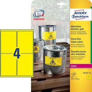 Etikety polyesterové 99,1x139mm Avery A4 žlté 20 hárkov
