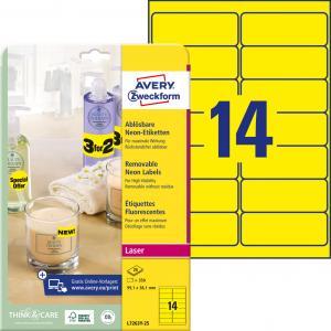 Etikety Avery odnímateľné 99,1x38,1 mm neónové žlté